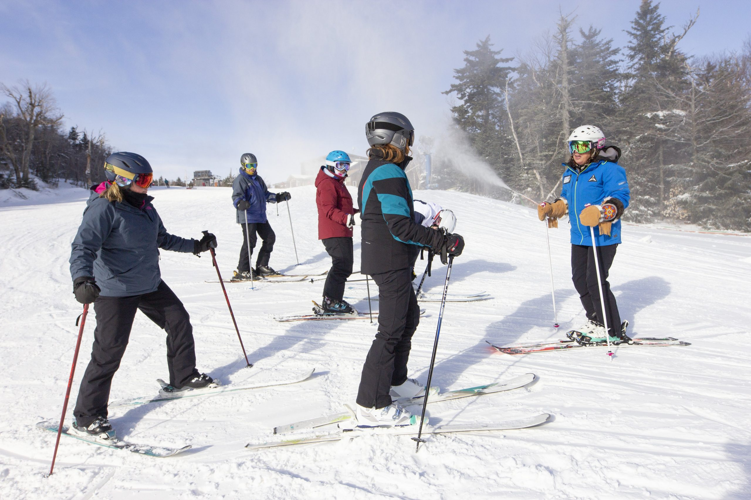 ladies ski lesson with instructor