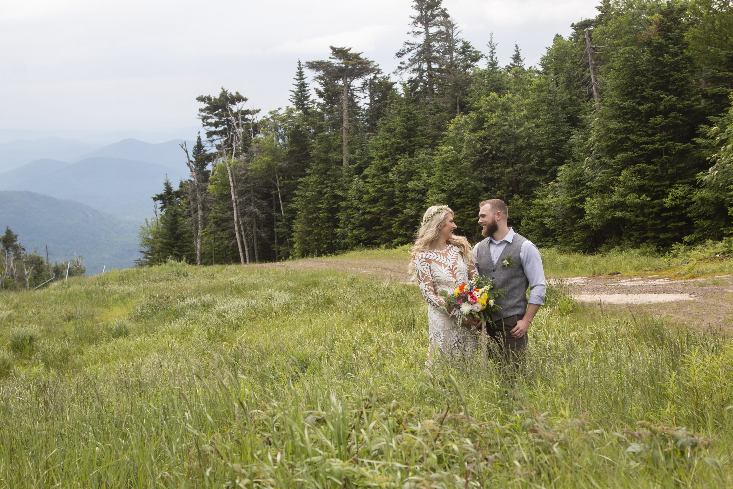 Wedding Couple Surrounded by Nature