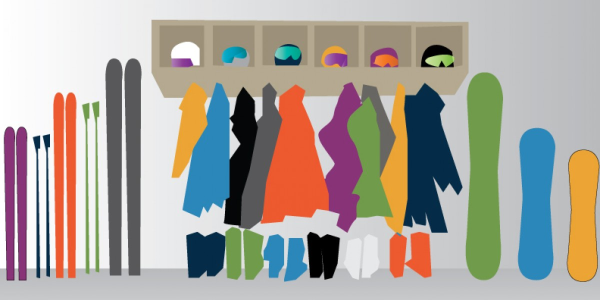 Illustration of very organized ski gear