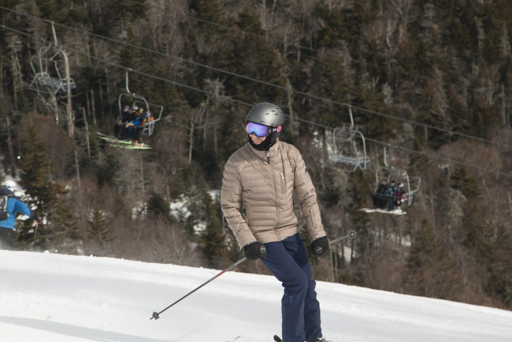 Skier looking up hill