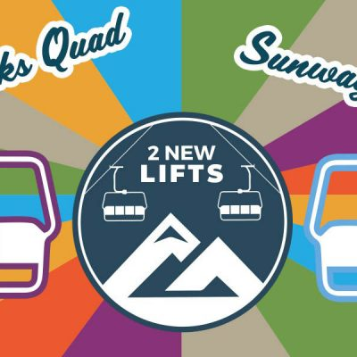 """Illustration of two ski lifts. """"2 New Lifts, High Peaks Quad & Sunway Chair"""""""