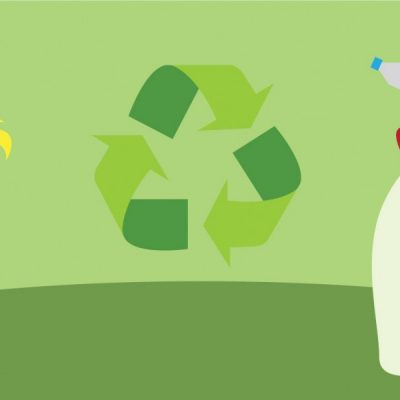 Illustration of compost, recycle icon, and picking up litter